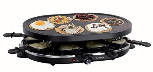 Raclette Grill 8 Personen Grillplatte Tischgrill Elektrogrill Grillplatte Oval (8 Pfännchen, 1200 Watt, Antihaftbeschichtung, Party Grill, Crepe Maker)