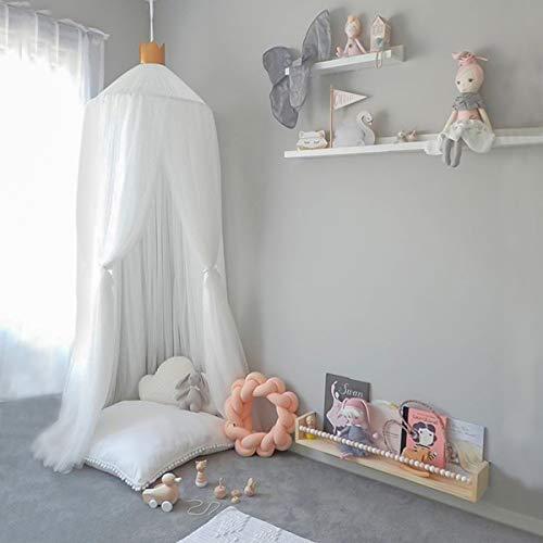 Miavogo Baby Baldachin aus Garn, Kinder Betthimmel Hängend Mädchen Prinzessin Schlösschen Spielzelt Dekoration für Schlafzimmer Babybett, Gesamtlänge 240cm, Weiß