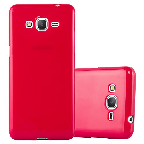 Cadorabo Coque pour Samsung Galaxy Grand Prime en Jelly Rouge - Housse Protection Souple en Silicone TPU avec Anti-Choc et Anti-Rayures - Ultra Slim Fin Gel Case Cover Bumper