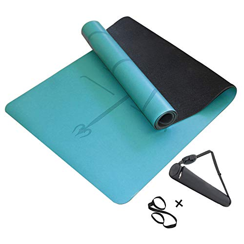 MINCHEDA Tappetini Yoga Professionale, Ecologico Yoga Mat con Sistema di Allineamento, per Pilates/Fitness/Palestra, Tracolla Regolabile e Borsa da Yoga, 183 * 68 * 0.5 cm