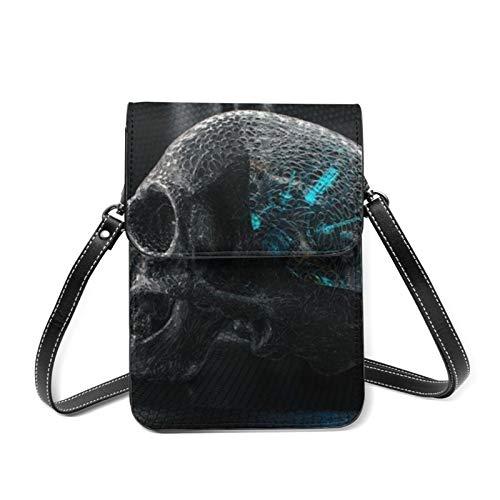 Concepts-Skull-Creative-Art Borlas Decoración Cremallera Solapa Pequeño Hombro Cruzado Bolsa de Sillín con Cierre de Cierre