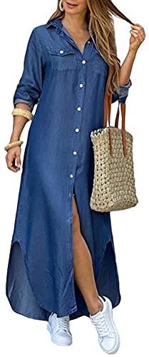 ORANDESIGNE Damen V-Ausschnitt Jeanskleider Denimkleid Sommerkleid Lose Kurzarm Partykleid Tunika Hemd Blusenkleid Jeanskleid Maxi Kleid C Blau...