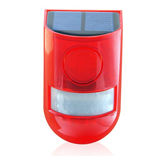 Xpccj Solar Sound & Light Alarm Bewegungsmelder 110 Dezibel Sirene Sound Alarm & 6 LEDs Blitzwarnung Stroboskop Sicherheit Alarmsystem für Farm Villa Farm Villa Farm Hacienda Wohnung Outdoor Hof