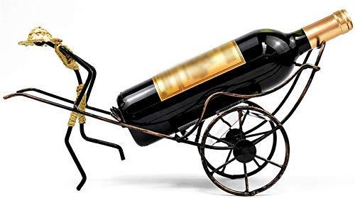 YINGGEXU Botellas hechas a mano Rickshaw Estante de vino para el hogar y la cocina, soporte práctico para botellas de vino, decoración de botellas de vino, estante de exhibición y estantes para vino