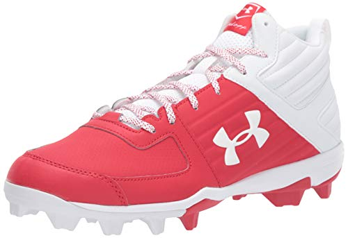 Under Armour Men's Leadoff Mid RM Baseball Shoe, Red (600)/White, 12
