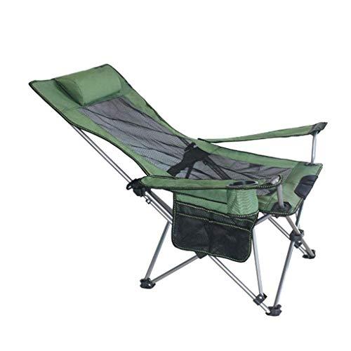 XYZMDJ Silla Plegable Pesca, Ajustable reclinable Malla Espalda Acolchada, Caminata al Aire Libre, Playa heces portátil (Color : Green)