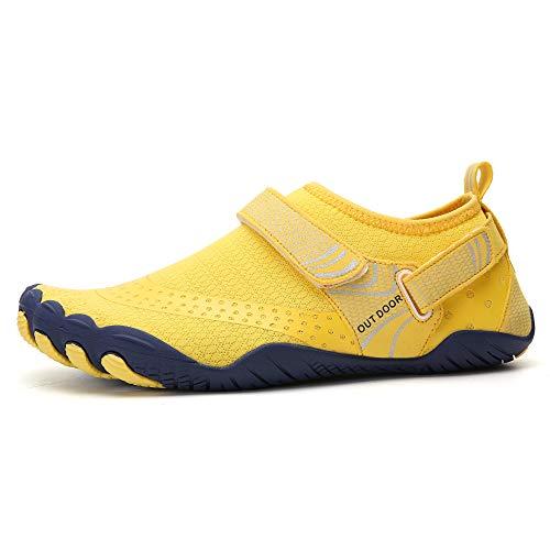 MULINSEN Water Shoes Hiking Barefoot Quick-Dry Aqua Yoga Outdoor Beach Surfing Swim Aqua Shoes for Women Men Yellow Size 8