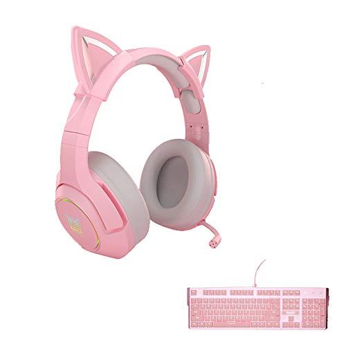 Liu Yu·casa creativa Auriculares De Juegos Rosados para Niñas PC Estéreo Auriculares De Juego con Micrófono Y Luz LED para Computadora Portátil / PS4 (Color : B)