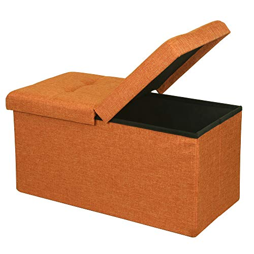 Otto & Ben Folding Toy Box Chest with SMART LIFT Top, Upholstered Tufted Ottomans Bench Foot Rest for Bedroom, Amber Orange