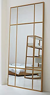 comprar comparacion Espejo de Cuerpo Entero Rectangular Dorado 220 x 110 x 3cm | Diseño danés | Espejo Grande y Largo de pie | Vertical y Ho...