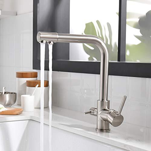 TIMACO Grifo de cocina de 3 vías, giratorio 360°, grifo monomando de acero inoxidable, grifo 3 en 1 para filtro de agua, grifo de agua potable con doble palanca, alta presión, níquel cepillado