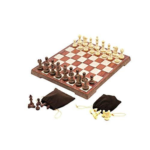 JHSHENGSHI Juego de ajedrez de Viaje FolMagnetic con 2 Bonitas Bolsas portátiles para almacenar Piezas Ligero para un fácil Transporte