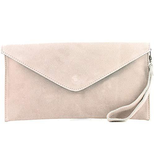 modamoda de - T106 - ital Clutch/Abendtasche aus Wildleder, Farbe:Rosabeige2
