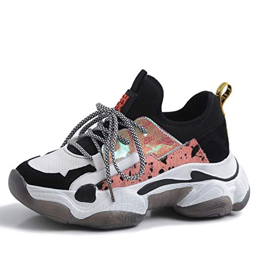 Vimisaoi Fashion Sneakers for Women, Lace-up Sequins Comfort Ugly Dad Chunky Sneakers Platform Loafers