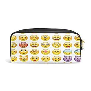 Domoko Cartoon Hipster Emoji Smiley – Estuche de piel sintética para lápices, maquillaje, cosméticos, viajes