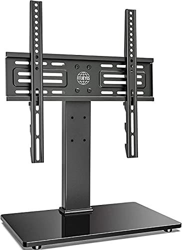 Universal Table Top TV Stand for 27' to 55' LED OLED LCD Plasma Flat Curved Screens Heights Adjustable with 8mm Tempered Glass