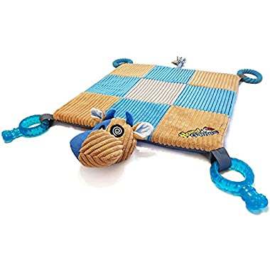 HoundGames | The Doggy Play Mat v2.0 - Puppy Teething Toys, Chew, Rope, Dental, Squeaker, Plush Padded Mat, Ideal for Puppies or a Small Dog - Designed in The Colors Dogs See Best!