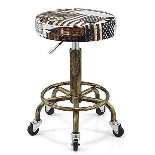 DLMPT Barkruk Draaikruk op wieltjes, in hoogte verstelbare rolkruk, met kunstleer beklede zitting, Werkkruk voor schoonheidssalons, Kantooren 6