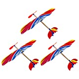 NUOBESTY 3Pcs Plastic Glider Airplane Rubber Band Powered Throwing Airplane Toy Slingshot Aircraft Model Outdoor Sports Flying Toy for Kids
