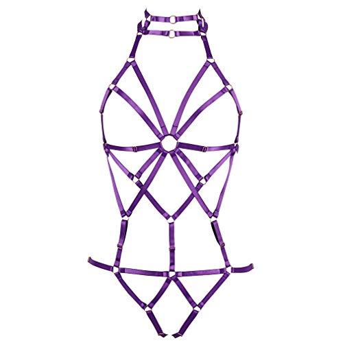 BANSSGOTH Damen Body Harness BH Strumpfband gürtel Dessous käfig Set Brustgurt Punk Gothic körpergeschirr Einstellbar Festival Rave (Purple)