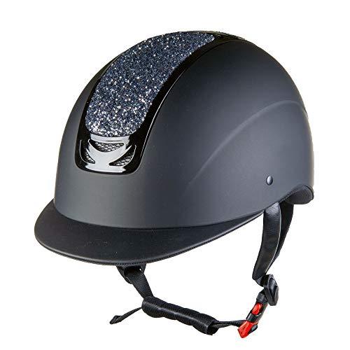 HKM Glamour - Casco de equitación (58-60 cm), Color Negro y Gris