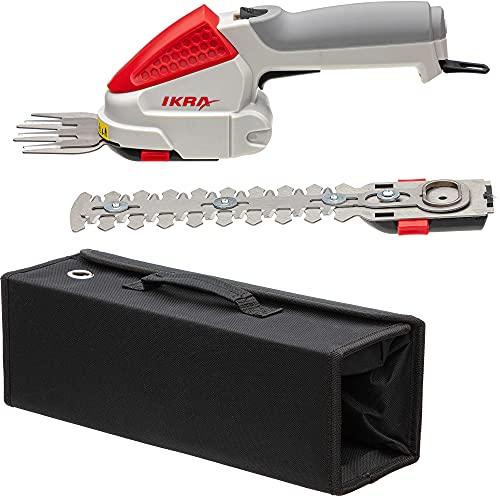 IKRA 50807200 Grasschere Strauchschere 2in1-Gartengerät IGBS 1054 LI 7,2Volt, Laufzeit bis 175 Min. inklusiv Akku und Tasche, 15.84 W, 7.2 V, Grau/Rot