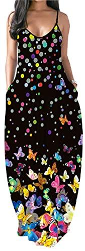PADOLA Mujer Vestido Estampada Falda Larga Suelta con Eslinga(L,Mariposa de Color)