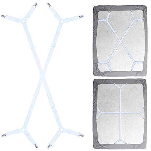 Siaomo Sheet Fasteners Suspenders Straps - Adjustable Crisscross Bed Sheets Holder Clips Elastic Band Sheet Keeper Stays Grippers,2Pcs/Set White