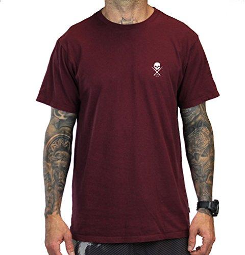 Sullen Clothing Herren Standard Issue Short Sleeve Tee T-Shirt, Burg&errot/Weiß, Klein