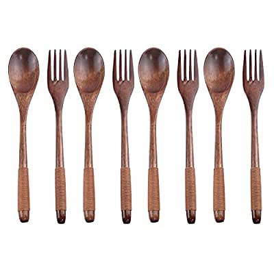 Antrader Wooden Spoons Forks Set Kitchen Tableware Dinnerware Flatware Eco friendly Natural Wood Cutlery Wooden Dinner Utensil Set, 4 Spoons and 4 Forks