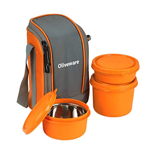 Oliveware Boss Lunch Box - Orange | Steel Range | Microwave Safe & Leak Proof | 3 Air-Tight Containers with Bag | Keep Food Hot | School, College & Office Use