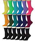 Tipi Toe Women's 18-Pairs Value Pack Colorful Super Classy Fashion Crew Socks (WC14A,12A,13A)