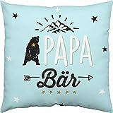Happy Life 46303 Baumwoll-Kissen mit Spruch Papa Bär, 40 cm x 40 cm, Geschenk Papa