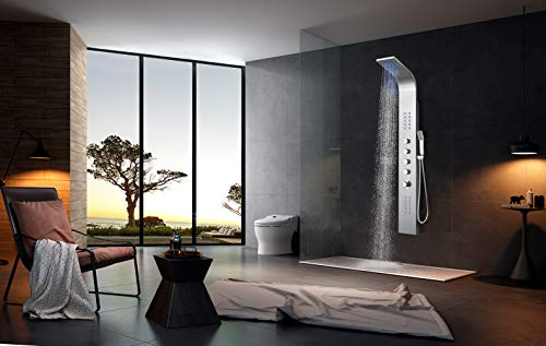 Elbe LED-Duschpaneel mit Thermostat und 4 Duschfunktionen, aus Edelstahl, gebürstete Ausführung, mit LED-Leuchten für eine elegante und luxuriöse Duschatmosphäre