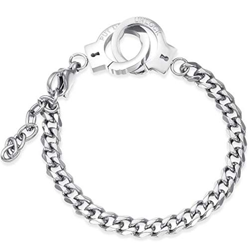 Jude Jewelers 6mm & 10mm Stainless Steel Handcuff Interlocking Infinity Style Chain Link Bracelet (Silver 6mm)