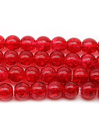 Piedra natural rojo agrietado granos de cuarzo para hacer joyas DIY 8/10/12 mm cristal redondo cuentas sueltas DIY pulsera rojo 12mm aprox 30beads