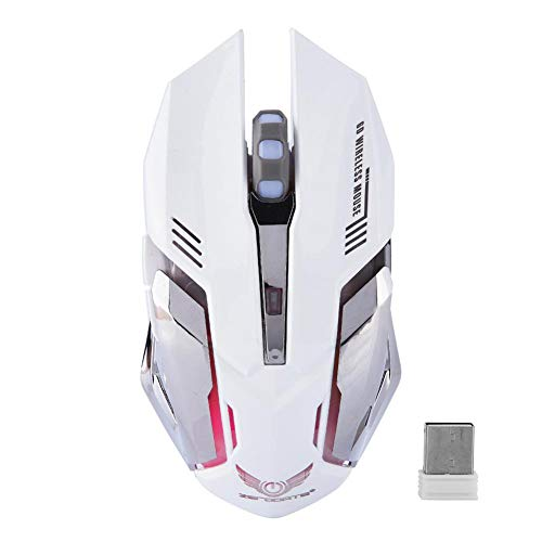 ASHATA Wireless Mouse,2.4G Wireless Rechargeable Gaming Mouse,Ergonomics Optical Mouse Mice 2400DPI for PC Laptop Computer,Windows 98 / Me/ 2000/ XP/Vista/Win 7/ Win8/ Vista Mac OS or Latest.(White)