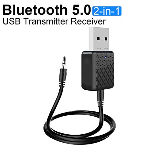 Abafia USB Adaptador Bluetooth, 2-in-1 Empfänger und Transmitter, Bluetooth V5.0 Tragbarer Mini Audio Adapter Sender Receiver mit 3.5mm Digitales Audiokabel für PC TV Kopfhörer Autoradio