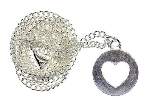 Miniblings Collar de corazón hecho a mano, cadena de 45 cm, amor novia plata círculo 15 mm, cadena de eslabones bañada en plata