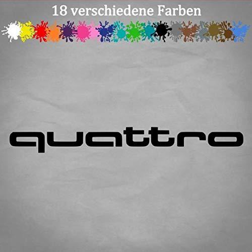 QUATTRO Schriftzug 23x2,5cm A4 A6 Q5 B3 B2 Aufkleber Autoaufkleber Sticker LOGO in 18 Farben 70-Schwarz
