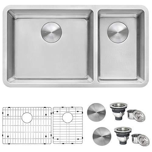 Ruvati 32-inch Undermount Kitchen Sink 70/30 Double Bowl 16 Gauge Stainless Steel - RVM5300