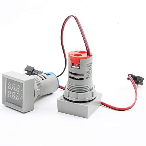 ILS – 3 unidades 22 mm AC 50 – 500 V 0 – 100 A Mini Digital Voltímetro cuadrado Amperímetro Voltímetro Tester Doble LED Indicador Piloto Lámpara Doble Blanco-Blanco