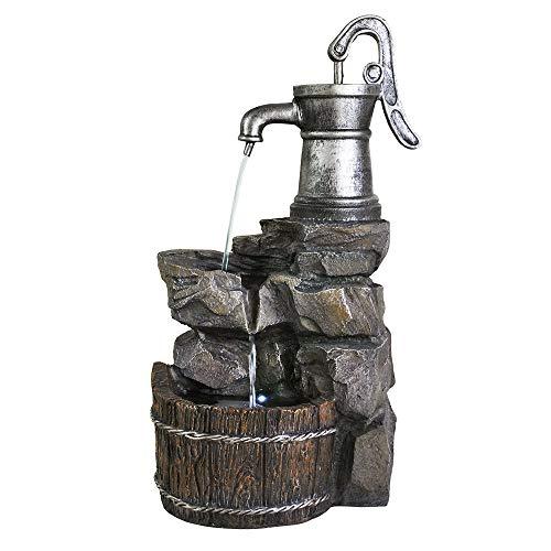 Ferrisland 3-Tier Old-Fashioned Pump Barrel Fountain - Rustic Outdoor Waterfall for Garden, Patio, Deck, Porch - Yard Art Decor