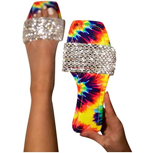 Sandales Femmes Plates Chaussures Été Semelle Compensées Bride Cheville Strass Nu Pieds à Talons Plats Claquettes Plage