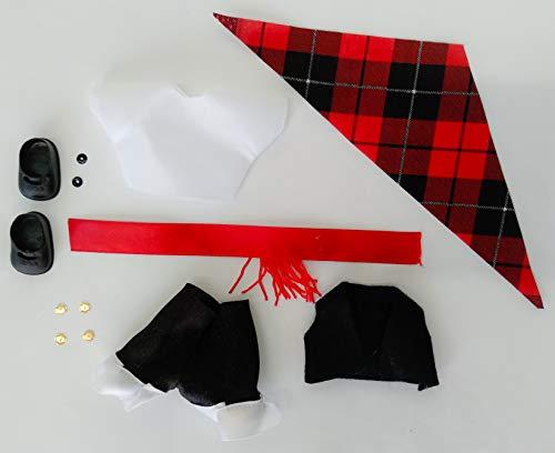 Folk Artesanía Vestido y complementos Regional típico Aragonés o Baturro muñeca Barriguitas de Famosa. Muñeca no incluida en el Lote.