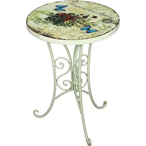 etc-shop Kleiner Gartentisch Retro Beistelltisch Metall Blumen Balkontisch klein rund, Eisen altweiß, DxH 38 x 53 cm