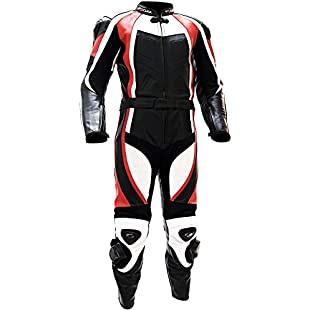 Motorcycle Suit Racing Two Piece Tschul ® Leather Suite 770 RED, Size 54:Interoot