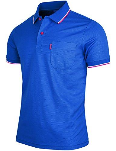 BCPOLO Men's Polo Shirt 1 Chest Pocket Dri Fit Polo Shirt Short Sleeve Various Polo-Blue-XL
