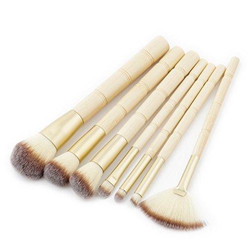 WDOIT Lot de 7 pinceaux de maquillage professionnels pour les cheveux synthétiques Beige