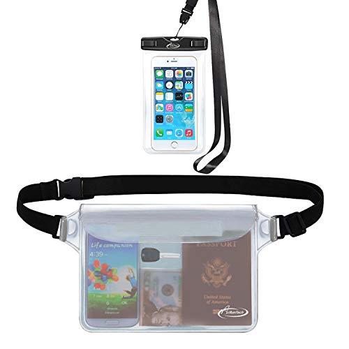 AiRunTech Wasserdichte Handytasche, 4 Stück, wasserdichte Tasche zum Angeln, Rodeln, Skaten, Skifahren, Schneeschuhwandern, universelle für iPhone (1 Handy-Schutzhülle (transparent) + 1 Gürteltasche